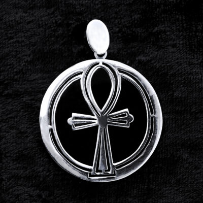 Sterling Silver & Onyx Ankh Pendant, Transference Healing, Jewellery, Jewelry