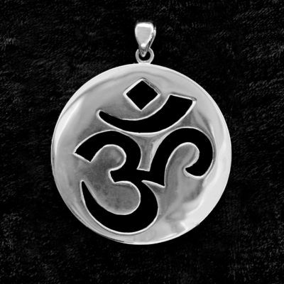 Sterling Silver & Onyx OM or AUM Pendant, Transference Healing, Jewellery, Jewelry