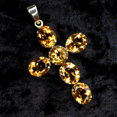 CITRINE CRYSTAL CROSS PENDANT