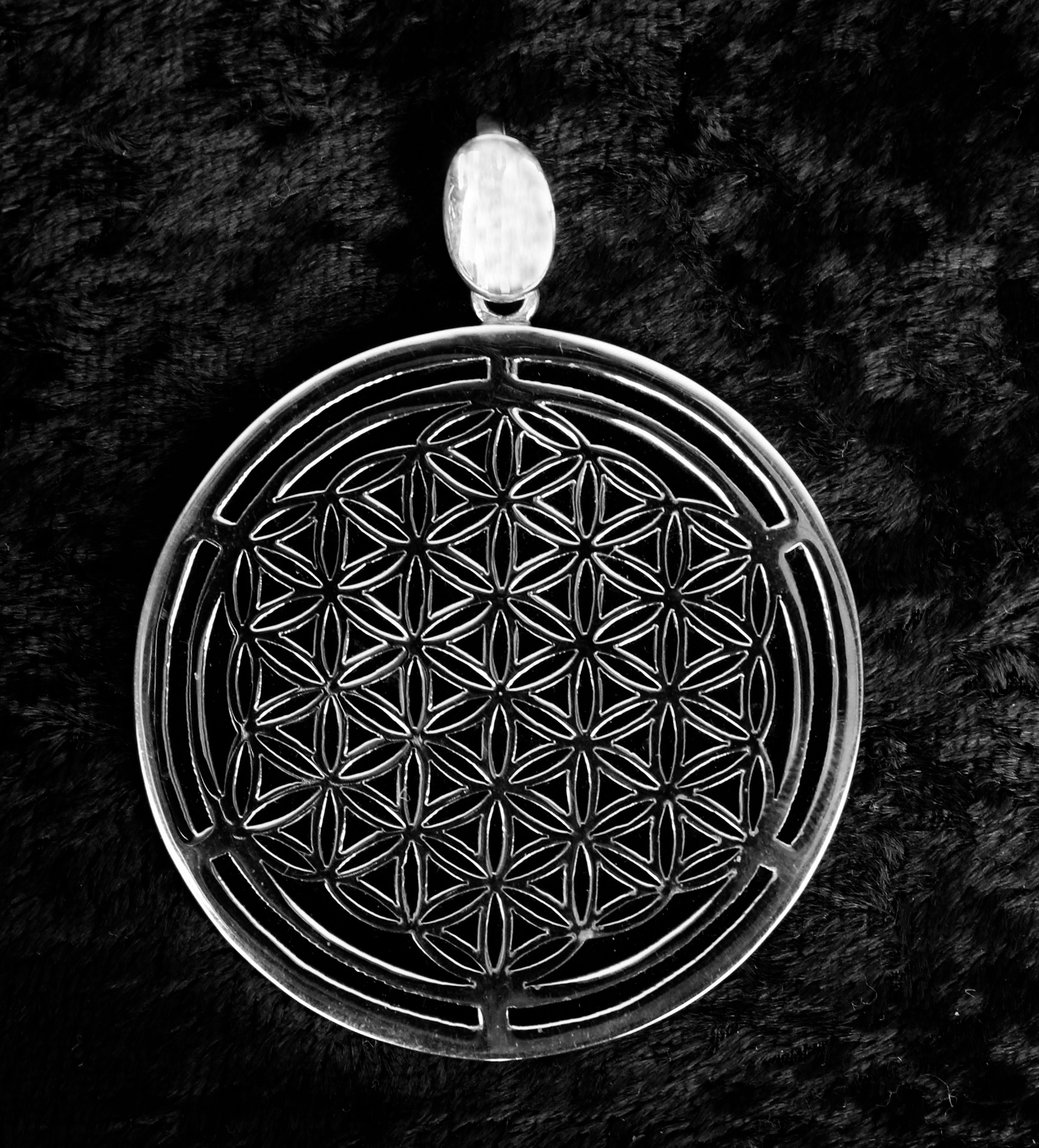 Sterling silver onyx flower of life pendant transference healing sterling silver onyx flower of light pendant transference healing mozeypictures Gallery