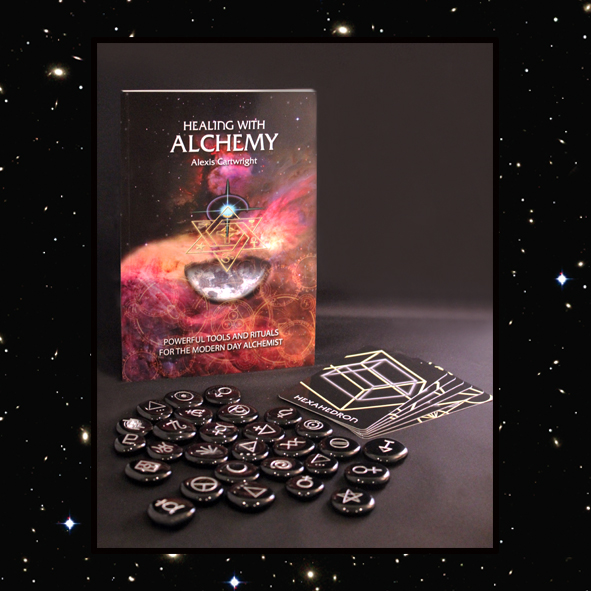 The Healing with Alchemy Set includes 28 black onyx crystals, 6 sacred geometrical cards and a 92 page guidebook.